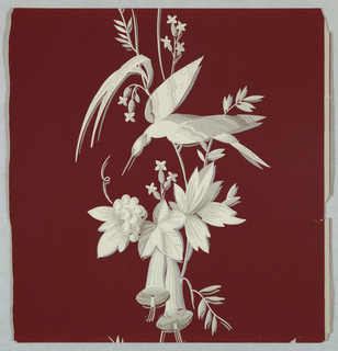 Large bird perched on flowering vine, printed in grisaille on deep red ground.