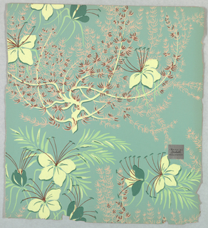 Tropical flowers or orchids set within different types of foliage. Printed in colors on medium green ground.