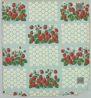 Small rectangle containing strawberries on the vine, alternating with rectangles of strawberry flowers, in rows. These two motifs form a checkerboard pattern. Printed on a light blue ground.