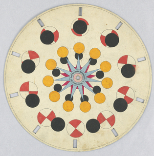 Paper disc with a hole in the center, 10 rectangular perforations evenly spaced along perimeter for viewing. In the outermost ring, several still images show a small black circle passing forward over a red and white circle. In the innermost ring, a black and yellow circle rotate around the edges of a blue and red layered star.