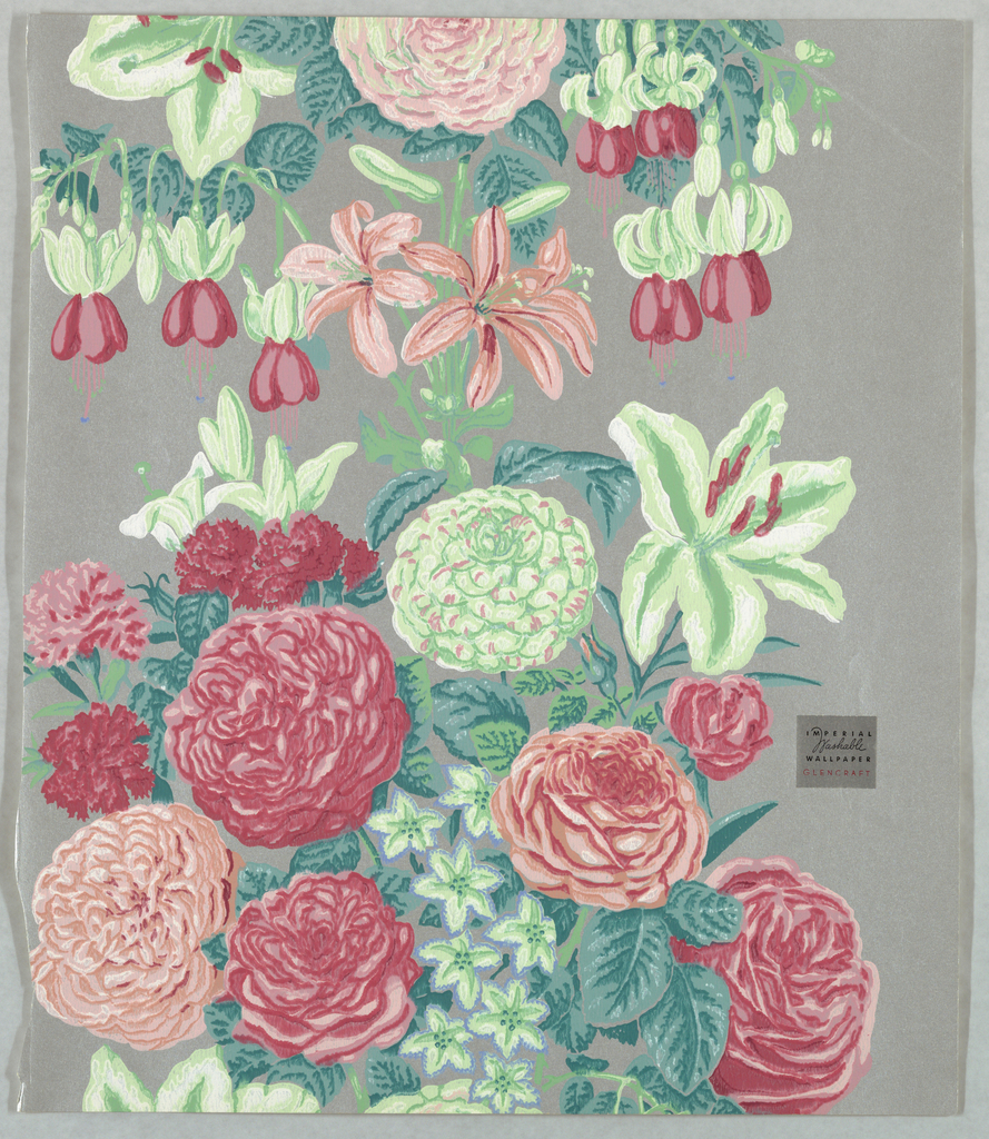 Dense compilation showing a variety of different flowers, printed in shades of red and green on medium gray ground. Silver Imperial sticker adhered to front.