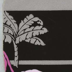 Repeating scene of one large purple elephant accompanied by two small gray elephants. Two types of trees, a palm and another, appear in the scene, against a black background.