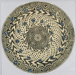 Circular floor disc which fits into circular, perforated tin zoetrope