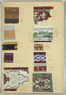 Eleven swatches of narrow borders, including architectural moldings, ribbon twist, beading, fancy gimp.