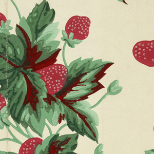 Clusters of bright red strawberries with green leaves printed on white ground.