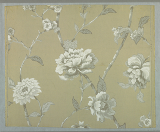 Large flowers, printed in grisaille, various species, on light gray ground.