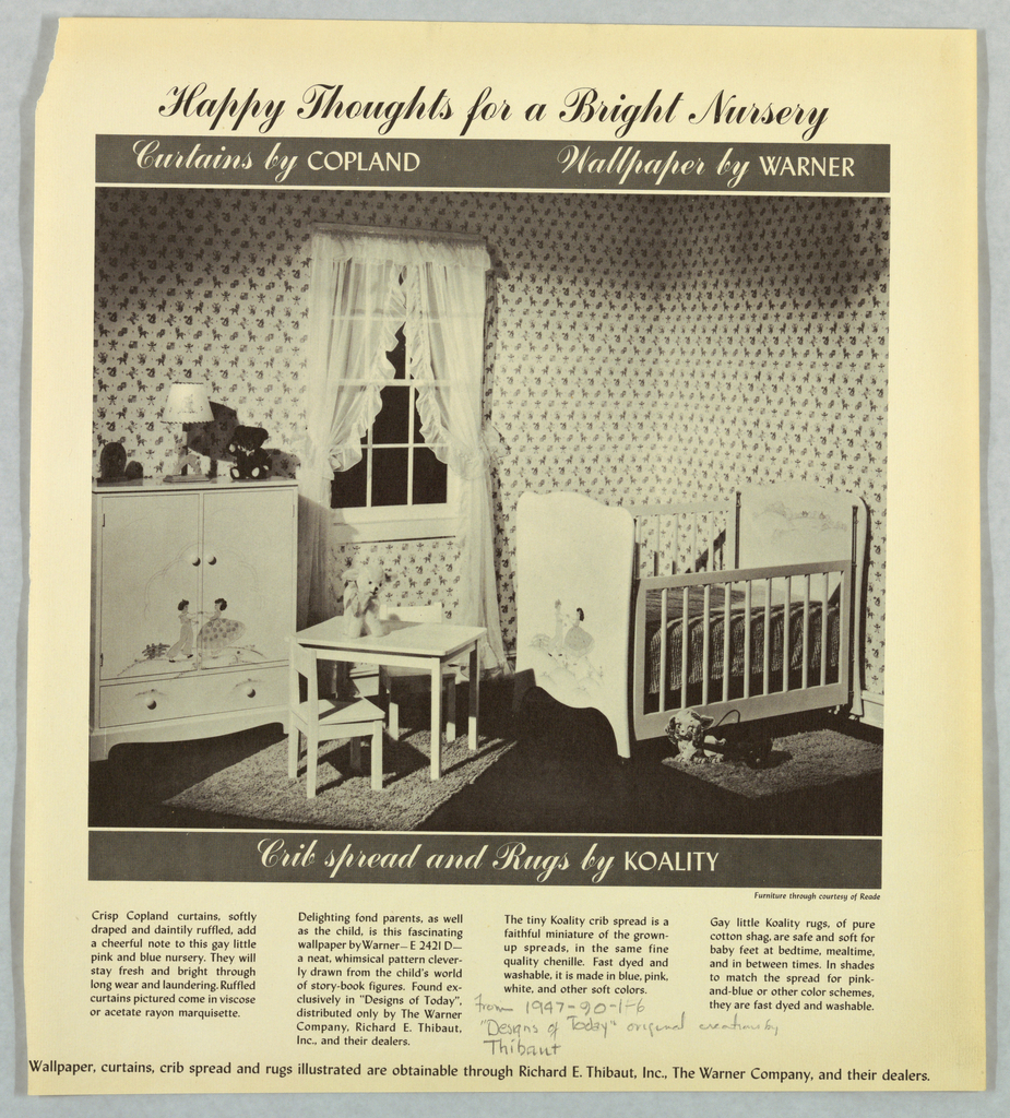 Black and white photo illustrating the decor for a nursery.