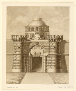Elevation of a gate inserted into a wall.  The gate's walls are rusticated.  It includes two massive rounded Ghibelline battlements.  The doorway has a classical frame.  Above, the arcaded dome rises behind the wall with openings of defensive purposes.  The papal arms are shown over a blank escutcheon, with cornucopias on either side.