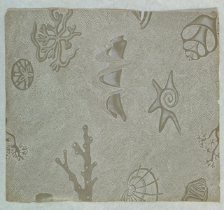 "Motifs of seashells, coral and sand dollars, printed in white on deep taupe ground. Object name changed from ""x"" to ""y"" (for Feeding Desire Exh. May 06)"