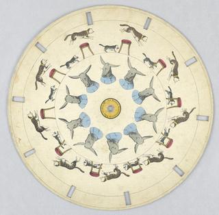 Optical Toy, Phenakistiscope Disc with Cats and Donkey