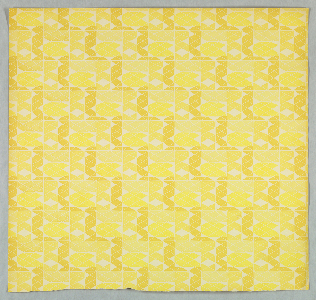 Diamond Mosaic - grid pattern composed of tiny diamond motifs. Printed in three shades of yellow on white ground.