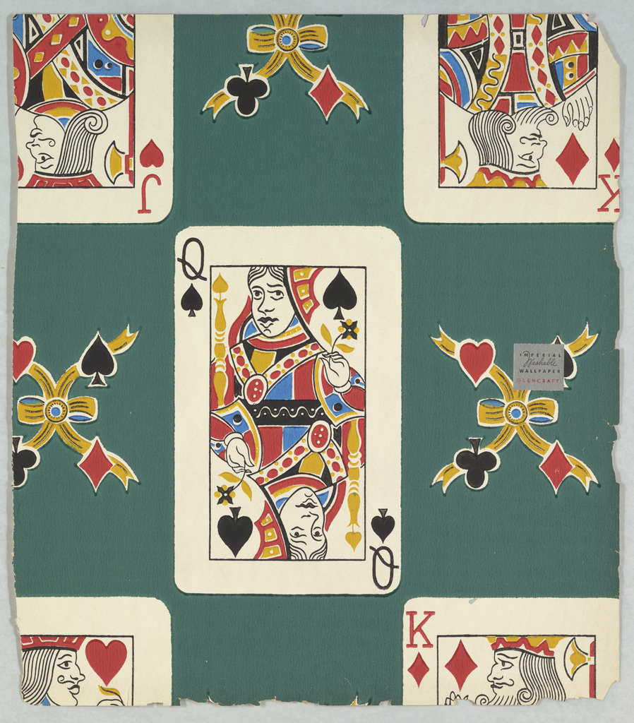 Design of playing cards, showing the King, Queen, and Jack, with each of the cards separated by a motif composed of heart, diamond, club and spade. Printed in colors on green ground.