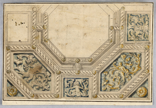 Part of a ceiling shown. At center, a blank octagonal frame flanked laterally with rectangles, the right one with scrolling ornament. Below two lozenge-shapes are decorated with putti and arabesques. At center, a mermaid. Frames are decorated with guilloche and rosettes. Two larger rosettes at the lower corners.
