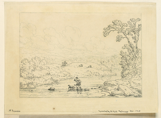 """Fragment of an 1840 """"papier peint"""" or wallpaper."""