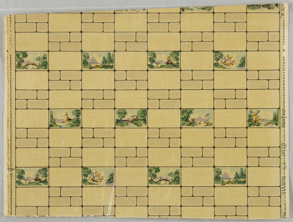 Sanitary paper depicting eight different landscape views, in tile format.  The landscapes are printed in color and alternate with rows of yellow bricks .