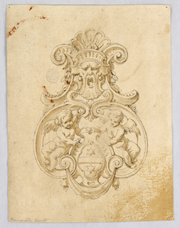 Escutcheon formed with volutes. At top, a mask crowned with a shell. Below, two putti hold a coat-of-arms with two six-sided stars.