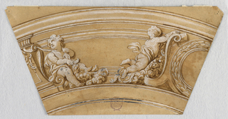 Trapezoid. At right, half a medallion with a laurel wreath. At left, two putto with floral wreaths tied to volutes.