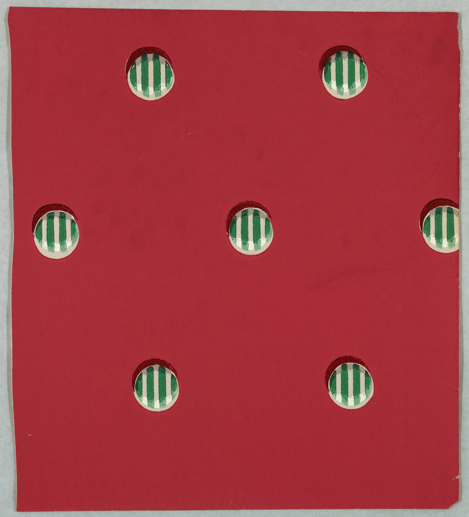 Pattern of striped buttons on a deep red background.