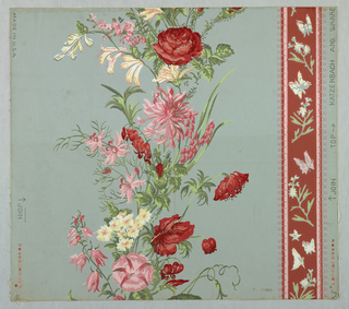 Design of stripe of flowers, scattered on a ribbon with picot edges and a wider stripe with flowers and leaves forming one continuous line.