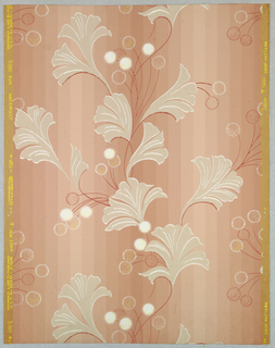 """An abstract design of stylized hickory nuts in burrs and leaves. Printed in margin: """"Drop - pattern, Birge, Made in U.S.A. - 5300 Run."""" Printed in gray, ivory and rose-red on rose field."""