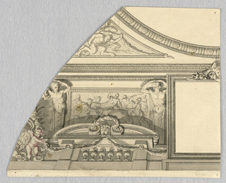 Irregularly shaped page. At top right, a curving moulding with triglyphs and seashells. Below, part of an undecorated square with half a horned mask at top center. To the left, two term figures flank a classical tablet. In front of this, a balustrade with a lion's head mask being framed by a laurel wreath.