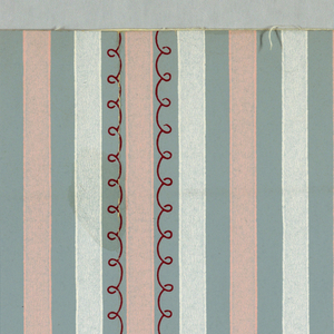Design of pink and white stripes on blue ground; scalloped line in red on every fourth and fifth blue stripe.