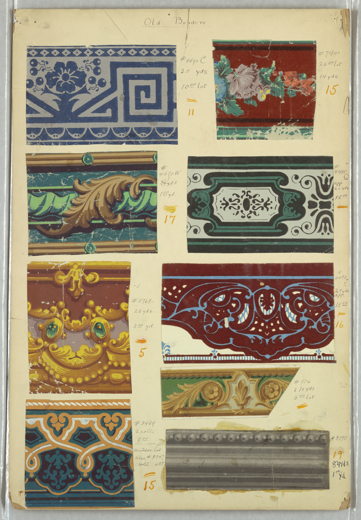 Nine swatches of wallpaper borders, including architectural moldings, floral motifs, beading.