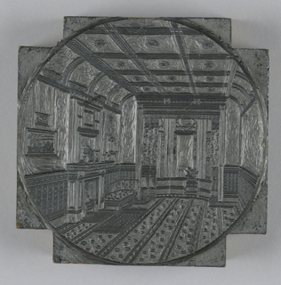 square, with corners cut off: within a circle is a perspective view of the interior of a Salon or Parlor, with a fireplace at left and a bay window in the background.