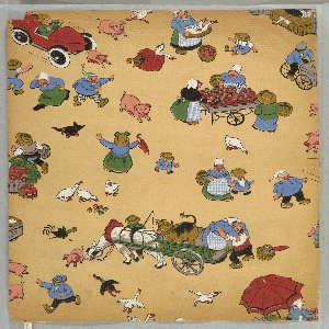 Children's paper showing a market scene: horse-drawn cart holds a cow and passenger; open cart holds produce; an early motor car. Random people, chickens and pigs are scattered throughout. Printed in colors on tan ground.
