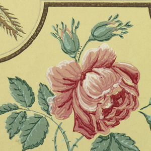 Rose spray set in frame (square with incurving corners) placed beside a fountain under an arbor, in one row, and beside a ewer with plants, in the alternate row. Printed in pink, green and brown on cream ground.