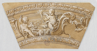 Trapezoid. At right, half an escutcheon with scrolling acanthus leaves. At left, two putto, one holding a torch.