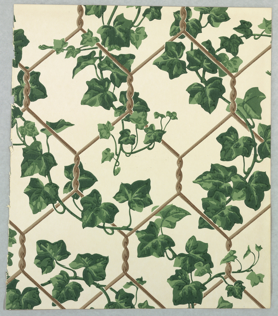 Vining ivy pattern of green foliage climbing up a chicken wire support. Printed on white ground.
