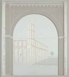 Design of an arch with a landscape view showing colonnade with trees and doves, set in an arch with ornamental spandrels.