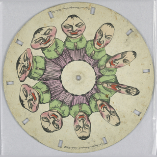 Paper disc with a hole in the center, 10 rectangular perforations evenly spaced along perimeter for viewing. Arranged in a ring, several still images show the progressive distortion of a male figure's head and face.