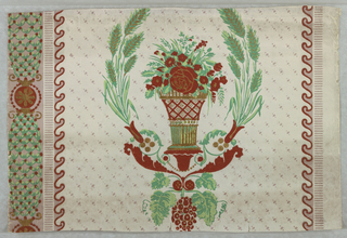 a) Vase of floral bouquet centered within a wreath of wheat. Grapes, acanthus scrolls, and beads below. Vertical lattice stripe and wave molding on sides.  Gold, red, brown and shades of green on white; b/d) Bottom border, central medallion containing putti pulling chariot with butterfly, above foliate band across bottom pilaster bases alternate with wave design at top edge. 