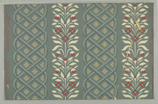 """Vertical trellis stripes alternating with vertical flowering vines. """"a"""": green and white and yellow on gray ground; """"b"""" cream and red and blue-gray on blue-gray ground."""