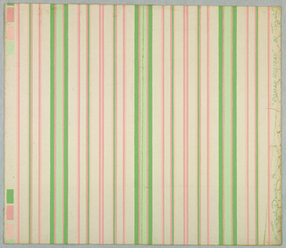 Stripes of several widths in shades of pink and green on pale pink ground.
