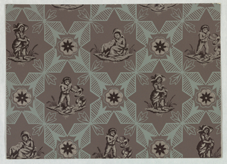 Against a dark gray ground are printed, in light gray-blue, connecting geometric figures with central rosettes. Between the geometric figures, in star-shaped areas, are children in early 19th century costumes at play with domestic animals and fowl.