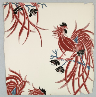 Large rooster, red with blue details, perched on a branch. Printed on a white ground.