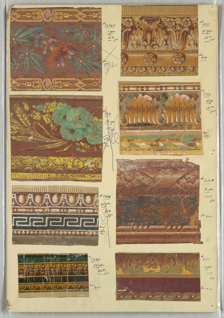 Eight swatches of wallpaper borders, including architectural moldings, floral motifs, ribbon twist, beading