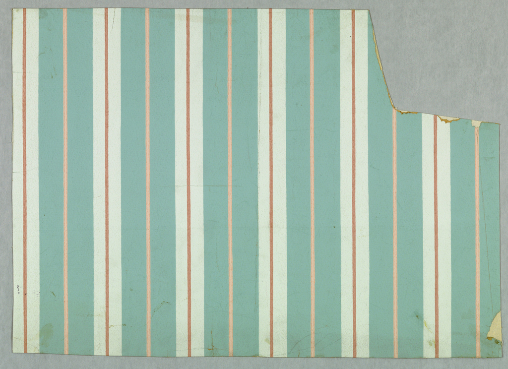 Design of narrow pink stripes on blue and pale blue stripes.