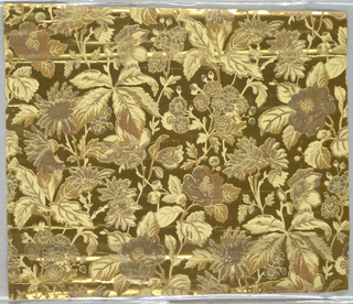 Aesthetic-style design.  All-over foliate and floral motif. Printed in metallic colors on bright gold ground.