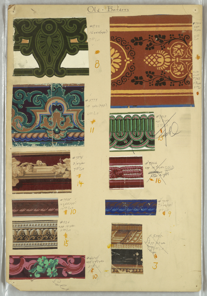 A group of ten border samples mounted on a board. The designs include rope twist, ribbon and rod, vine and rod, and fancy gimp, among others.