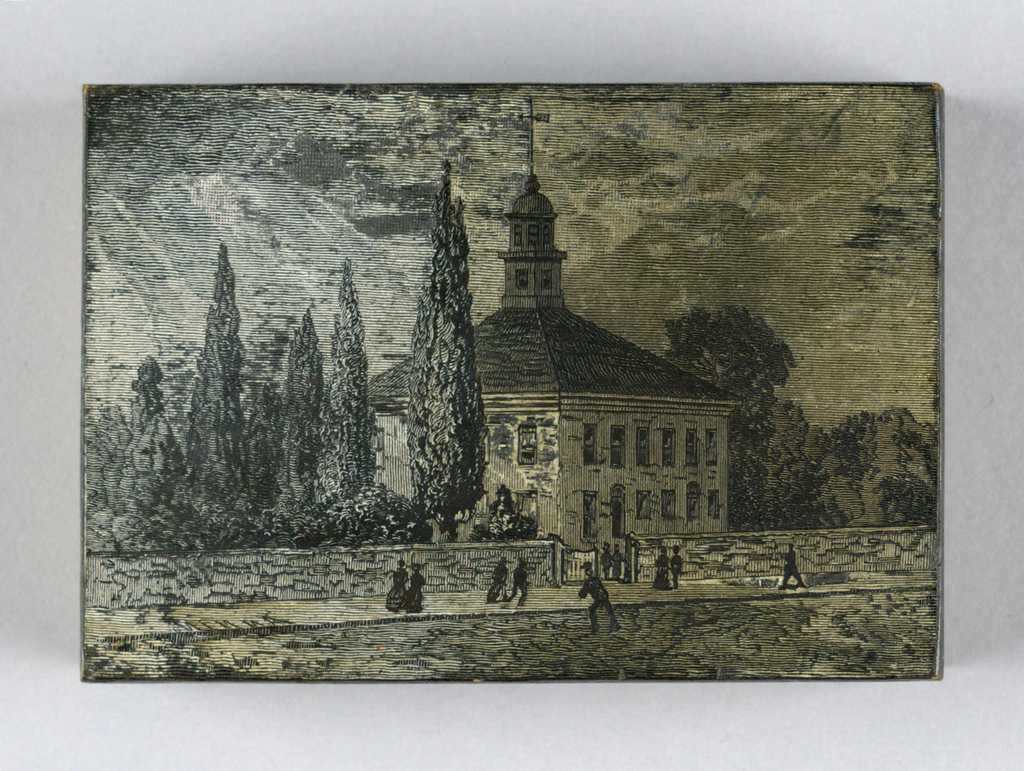 vertical rectangle - small square church building, surmounted by a cupola, is seen set among trees, behind a low wall and facing a street, on which are numerous figures.