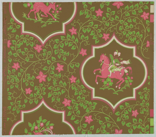 Design of shaped medallions showing, in one row, a hunter on a horse and, in the next row, an antelope; surrounded by scrolling, flowering vine. Printed in pink and two shades on green on brown ground. An adaptation of Persian design.