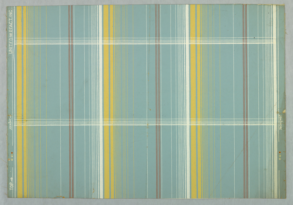 Plaid design of stripes in three different widths. Printed in yellow, white and red verticals crossed by white horizontals on light blue ground.