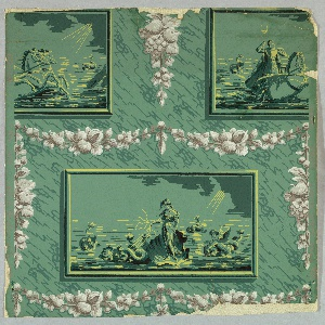 Full width, showing drop-repeating design of alternating rectangular frames, tiles or bricks enclosing Neptune in Chariot and woman, possibly Aphrodite, in a scallop shell drawn by dolphins. Floral and foliate swags and pendants separate frames.  Printed in brown, white, black and yellow on green ground,