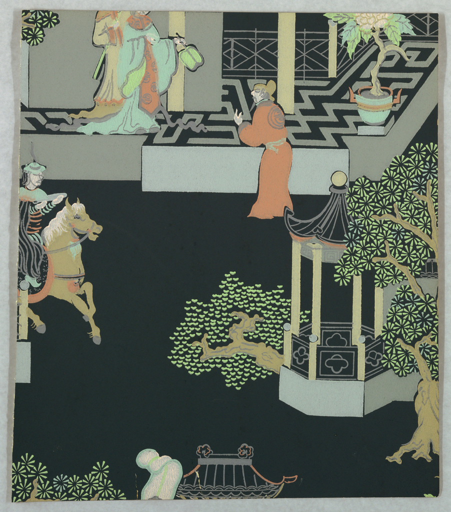 Chinoiserie design with figures, horses, architecture and trees. Printed on a black ground.