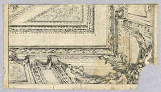 View of entablature and partial ceiling, seen from below. Frieze with sculptural figures clustered at corner. On either side, corbels with swags and a shell. Ceiling divided into framed panels.