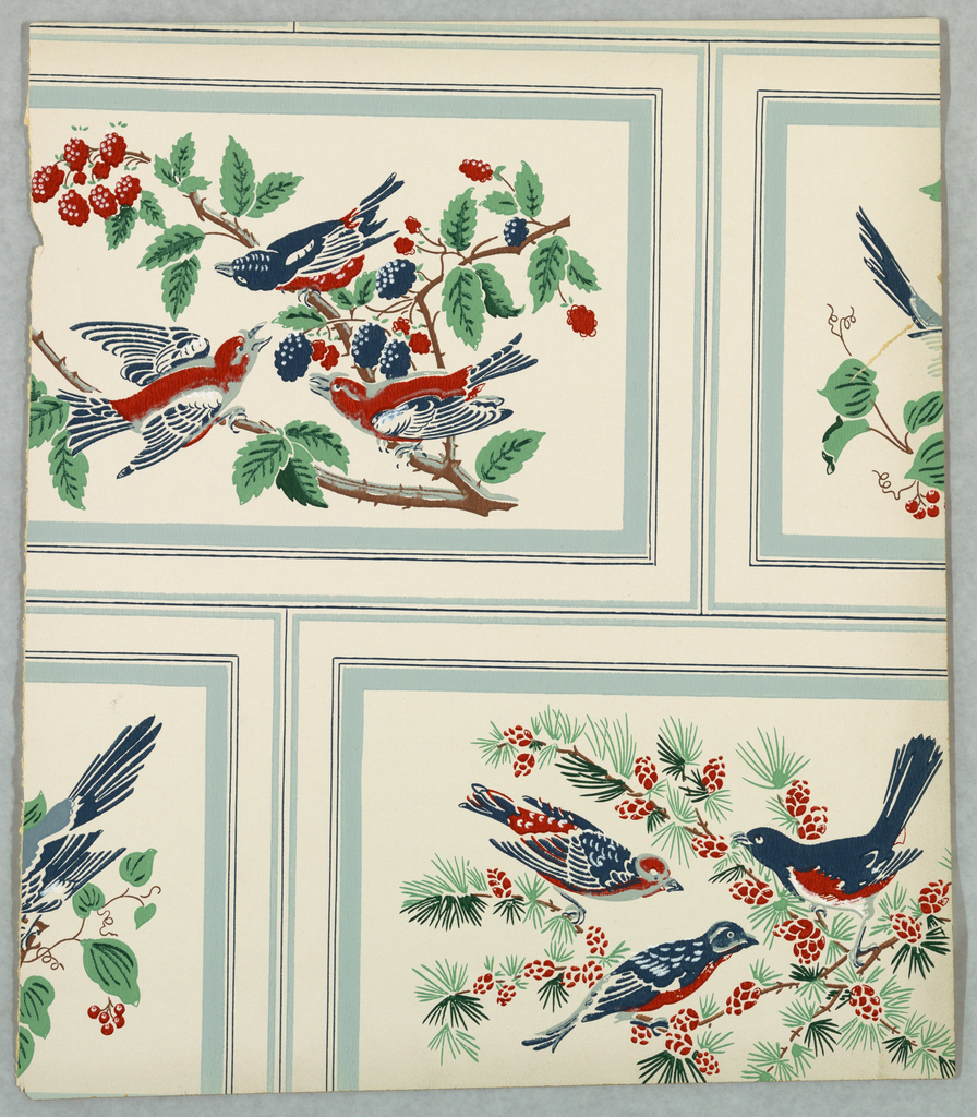 Ashlar block or brick pattern with each block containg birds perched on flowering branches. Printed on a white ground.